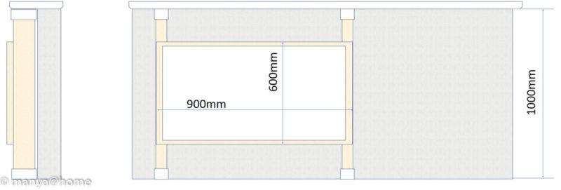 カウンター下 ホワイトボード(ディアウォールS)側面図/正面図