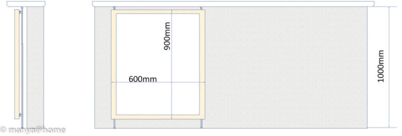 カウンター下 ホワイトボード(突っ張り棒)側面図/正面図