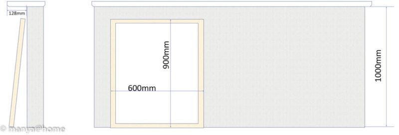 カウンター下 ホワイトボード(直置き)側面図/正面図