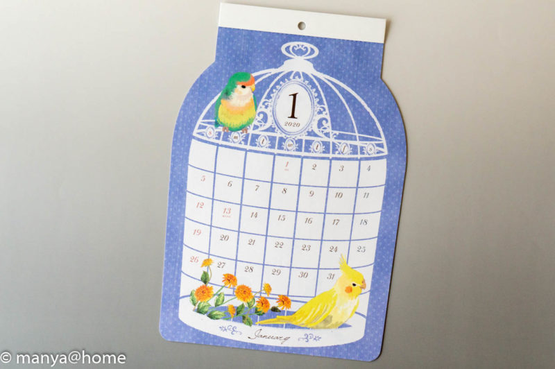 Seria(セリア) ダイカット壁掛けカレンダー 鳥かご 2020年