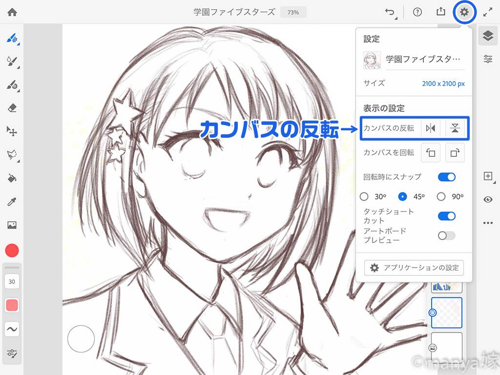 Adobe Fresco 設定 カンバスの反転