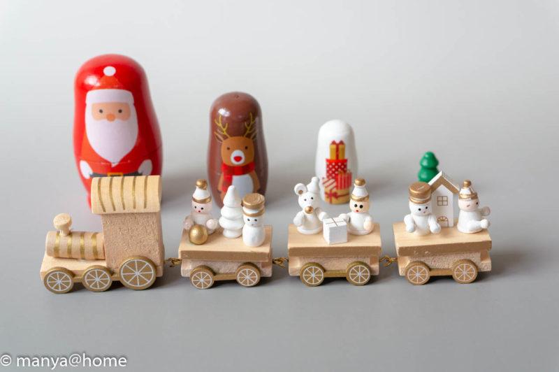 マトリョーシカ レッド、MDFトレイン ナチュラルカラー(3COINS ナチュラルオレンジクリスマス)