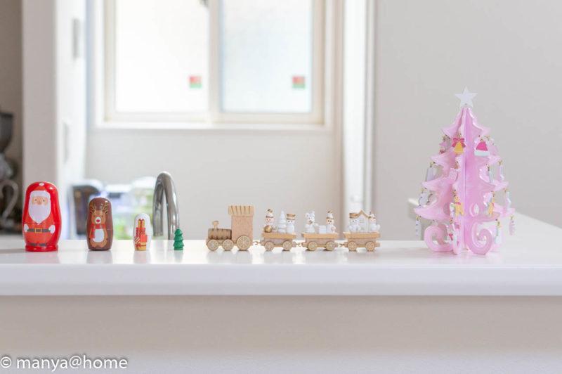 3COINSクリスマス MDFツリー、MDFトレイン、マトリョーシカ