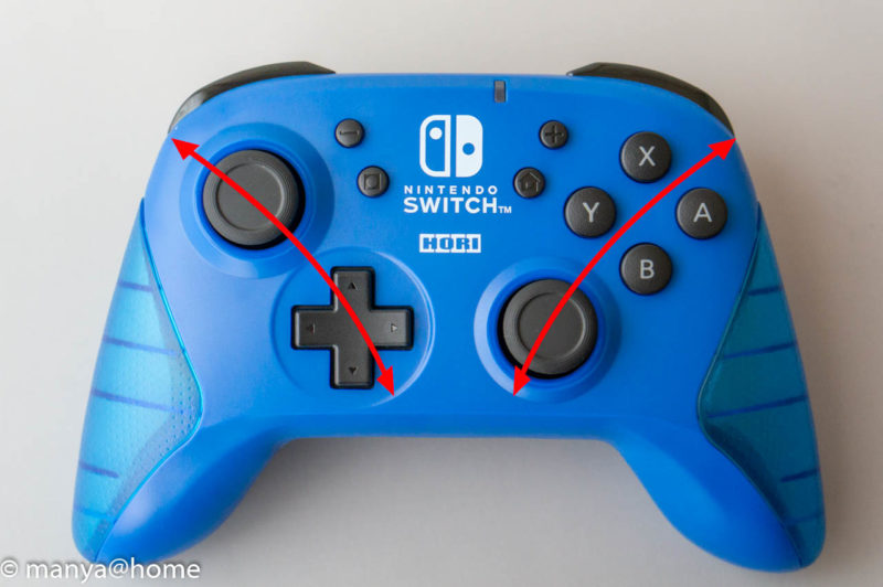 ワイヤレスホリパッド for Nintendo Switch ブルー 親指操作範囲