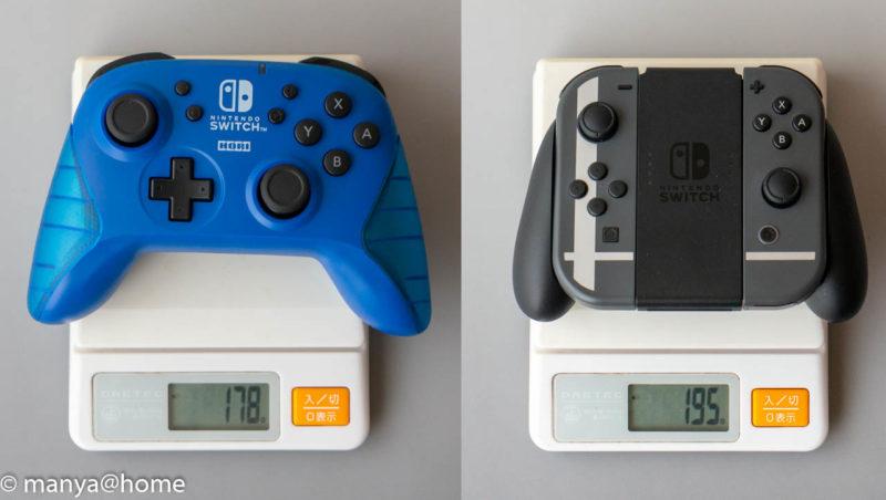 ワイヤレスホリパッド for Nintendo Switch ブルー 、Joy-Con重量比較