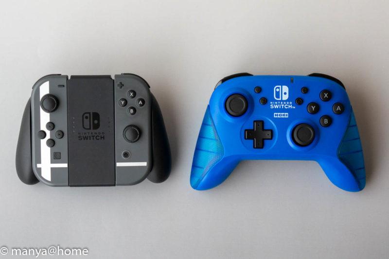 ワイヤレスホリパッド for Nintendo Switch ブルー 、Joy-Con比較 横