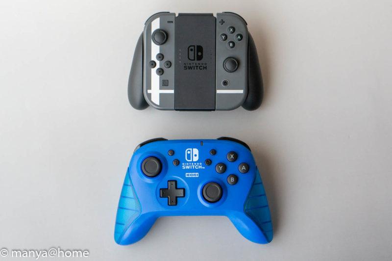 ワイヤレスホリパッド for Nintendo Switch ブルー 、Joy-Con比較 縦