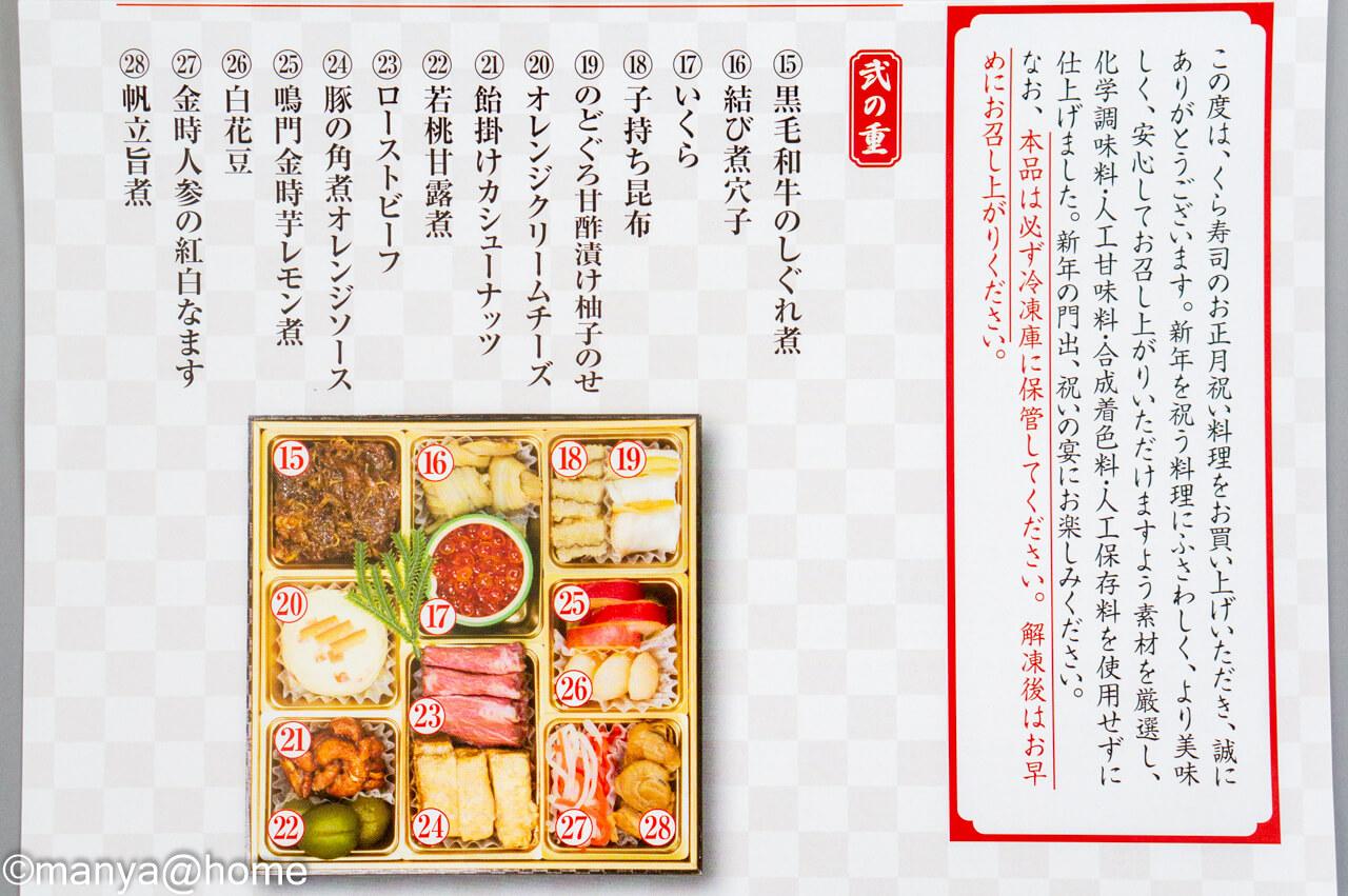 くら寿司特製おせち 二段重 お食事券2,000円分付 シュリンク無し弐の重説明