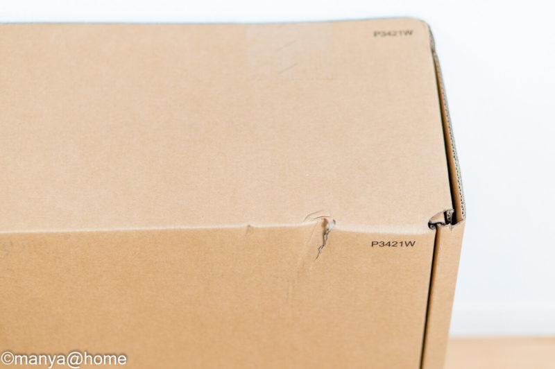 DELL P3421W ウルトラワイドモニター 外箱凹み